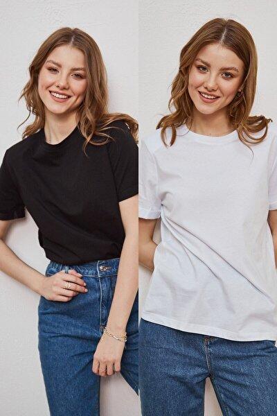 Kadın Siyah Ve Beyaz 2'li Paket Bisiklet Yaka Pamuklu Oversize T-shirt Lkr10242