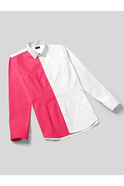 Beyaz Yakalı Kırmızı Iki Renkli Pamuk Saten Klasik Kadın Gömlek