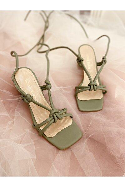 Kadın Yeşil Düğüm Detaylı Topuklu Ayakkabı