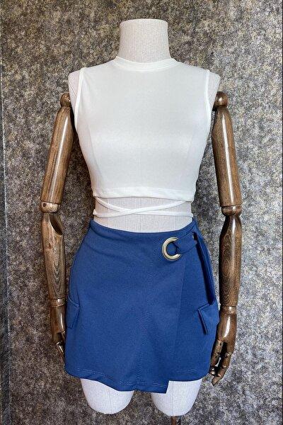 Kadın Beyaz Beli Ip Detaylı Crop Kesim Esnek Kumaş Kolsuz Atlet Bluz
