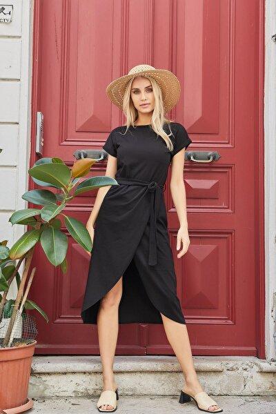 Belden Bağlamalı Elbise Siyah