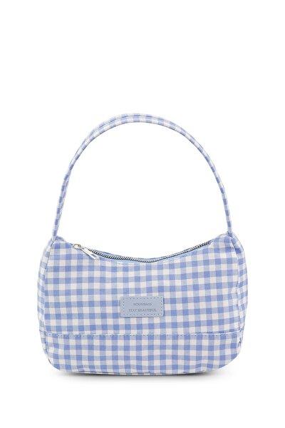 Kadın Pötikareli Mavi Baguette Çanta 197