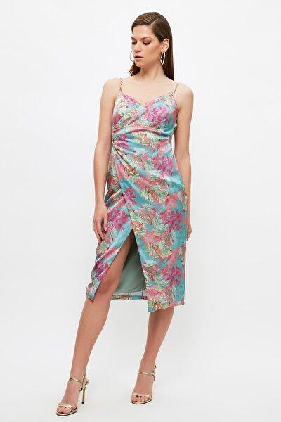 Çok Renkli Çiçek Baskılı Saten  Elbise TPRSS21EL3753