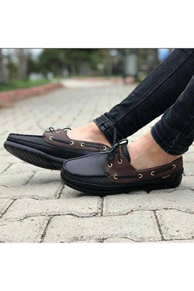 Erkek Siyah Kahverengi Bağcıklı Hakiki Deri Günlük Ortopedik Loafer Ayakkabı