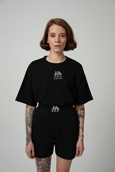 Kadın Siyah Büzgülü Oversize T-shirt