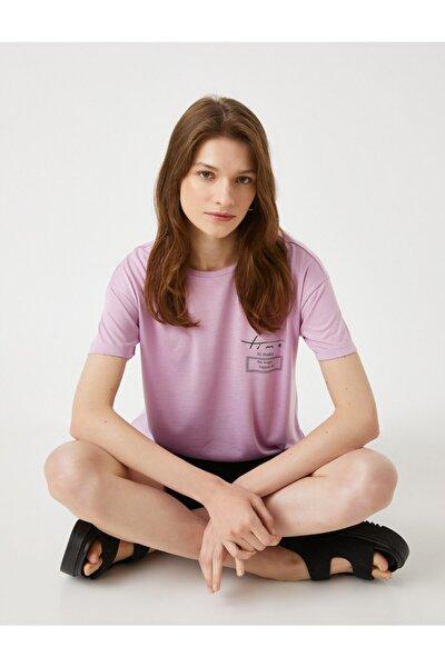Kadın Lila Baskılı T-Shirt