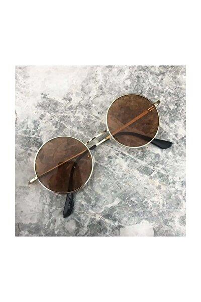 John Lennon Unisex Kahverengi Yuvarlak Güneş Gözlüğü