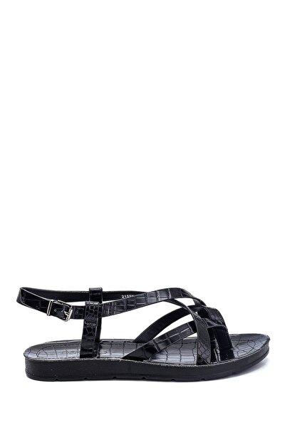 Kadın Kroko Baskılı Casual Sandalet