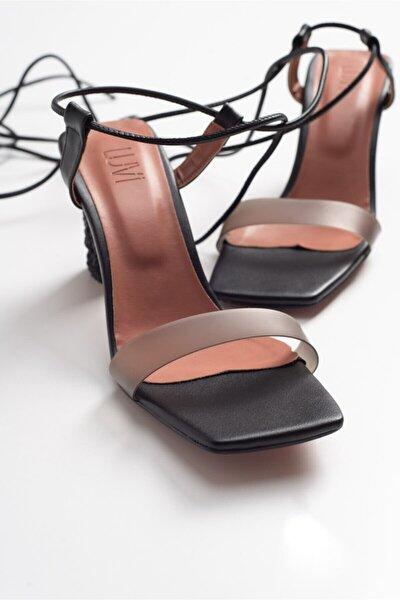 801 Sıyah Cılt Topuklu Kadin Sandalet