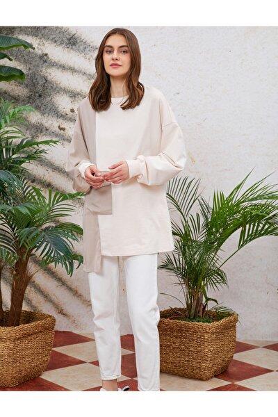 Kadın  Renk Bloklu Sweatshirt Asimetrik Cep Detayli Uzun