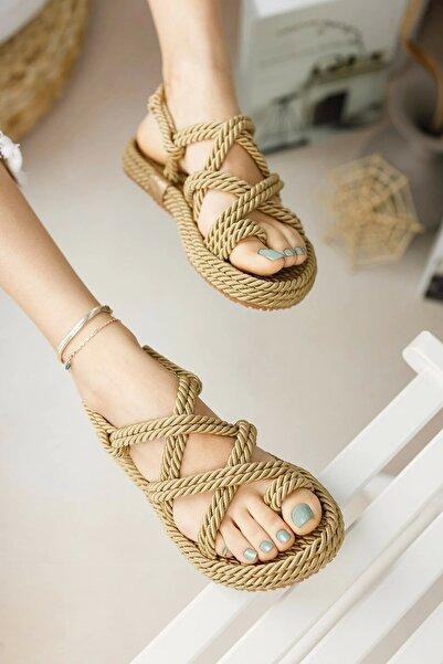 Halat Sandalet Altın