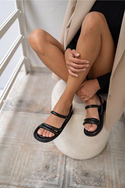 Marylan Kadin Siyah Vegan Deri Sandalet