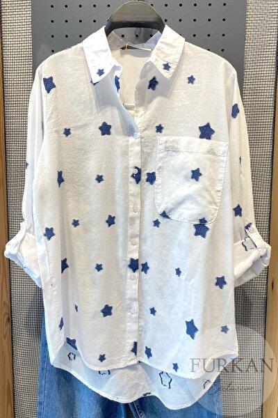 Kadın Beyaz Yıldız Nakışlı Pamuk Gömlek