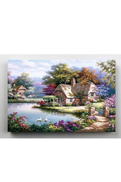 Orman Evleri Gölet Kanvas Tablo 60x120 cm