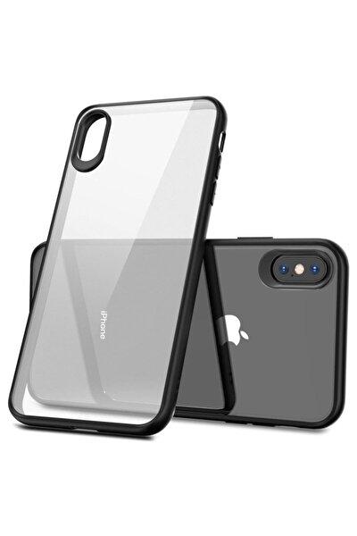 Iphone Xs Max Kılıf Glass Case Kenarı Silikon Arka Polikarbon Cam