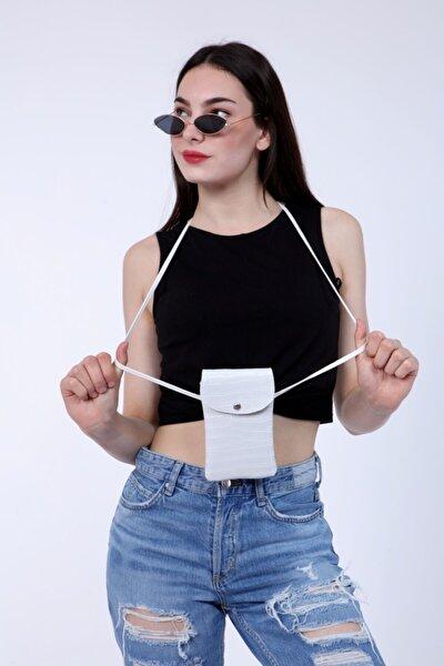 Kadın Kroko Desen Beyaz Askılı Cep Telefon Omuz Çantası Kapaklı Mıknatıslı