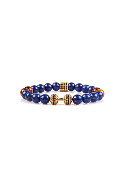 Altın Renk Aparatlı Lapis Lazuli Ve Kaplangözü Doğal Taş Bileklik 8 Mm Küre Kesim