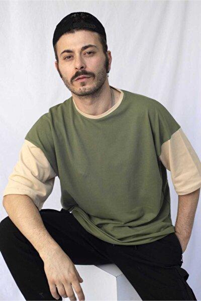 Erkek Yeşil Pamuklu Oversize Tişört