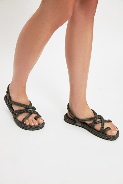 Gri Hasır Halat İpli Kadın Sandalet TAKSS21SD0002