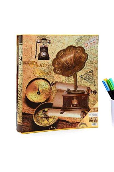 10x15cm 600'lük Gramofon Desenli Kutulu Fotoğraf Albümü