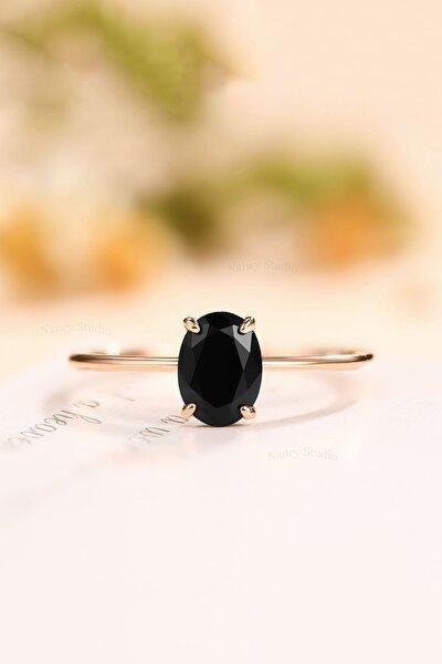 Oval Dişli Model Siyah Zirkon Taşlı 14k Rose Altın Kaplama Kadın Yüzük