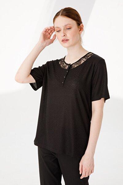 Kadın Sıfır Yaka Kısa Kol Dantelli Düğmeli Jakar Kumaş Bluz Siyah