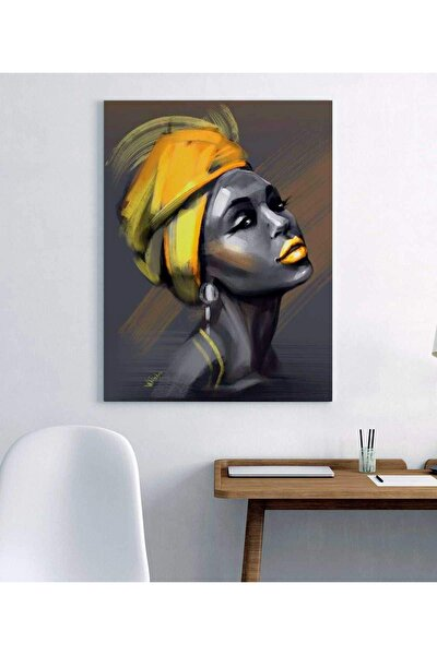 Sarı Eşarp Afrikalı Kadın Duvar Dekorasyon Kanvas Tablo