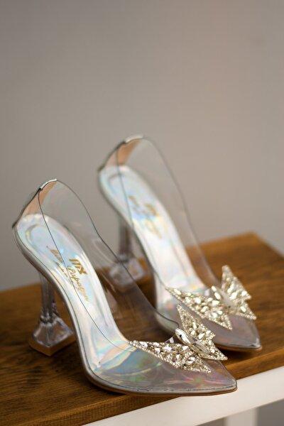 Misspapatya Vanni Gri Şeffaf Topuklu Ayakkabı