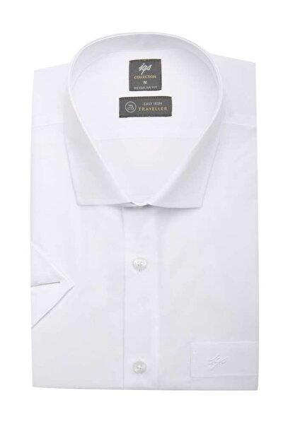Erkek Beyaz Regularfıt / Rahat Kalıp Std Gömlek Kısa Kol