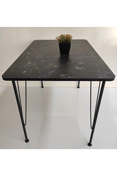 Siyah Mermer Desen Oval Mutfak Masası 70x110
