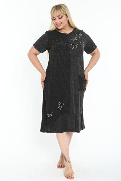 Kadın Yıkamalı Siyah Taş Detay Büyük Beden Elbise