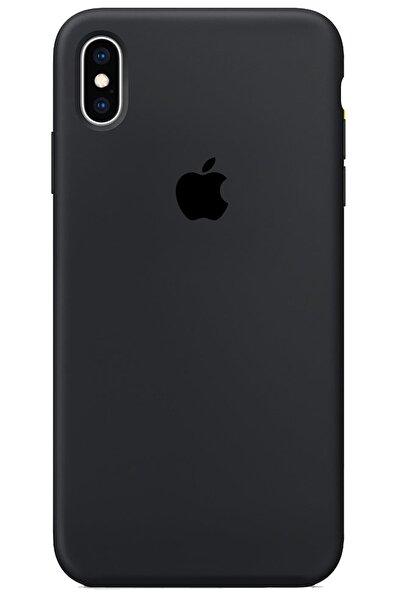 Iphone X Xs Kılıf Logolu Lansman Altı Kapalı Içi Süet - Siyah + Popsocket