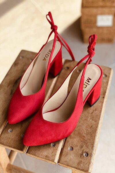 Kırmızı Süet Bağıcıklı Topuklu Ayakkabı