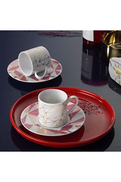 Rüya 4 Parça 2 Kişilik Pembe Kahve Fincan Takımı Ru04kt43011362