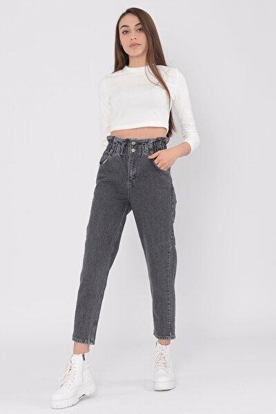 Kadın Füme Kot Yüksek Bel Jean Beli Lastikli Pantolon
