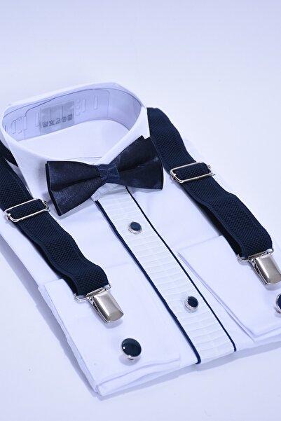 Kol Düğmeli Beyaz Gömlek Ve Lacivert Askı Papyon Seti