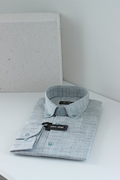 %100 Keten Erkek Gömlek // Sert Yaka // Normal Kesim
