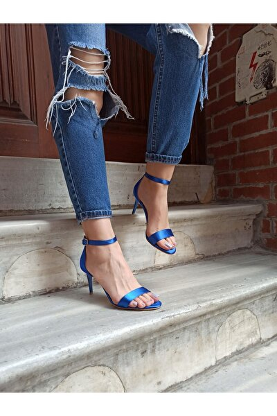 Saks Mavi Saten Ince Topuk 8 Cm Tek Bant Kadın Ayakkabı