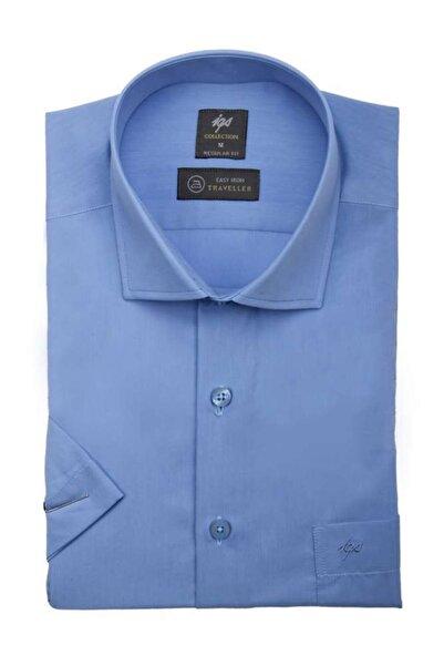 Erkek Mavi Regularfıt Rahat Kalıp Gömlek Kısa Kol