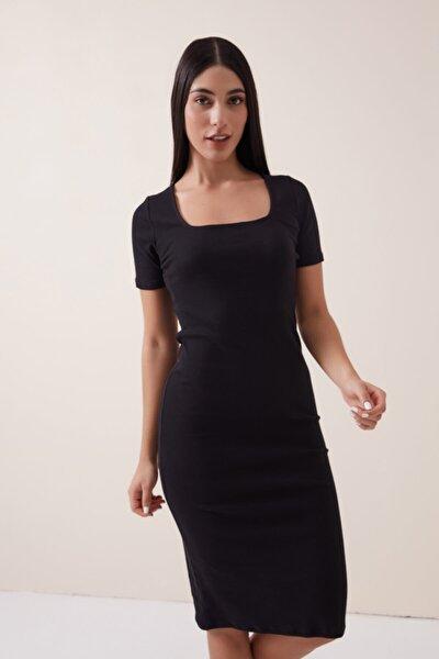 Kaşkorse Penye Elbise - Siyah