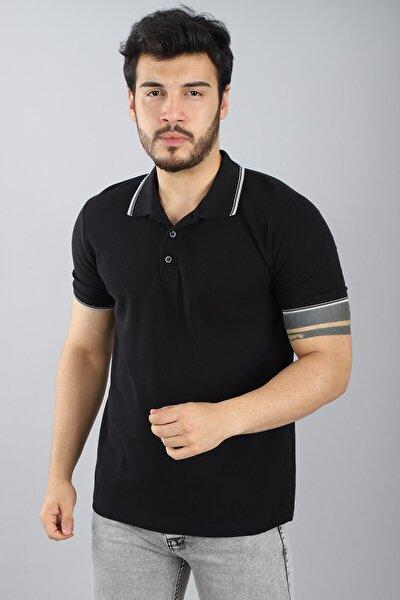 Erkek Polo Çizgili Yaka Kısa Kollu Slim Fit Düğmeli Siyah T-shirt