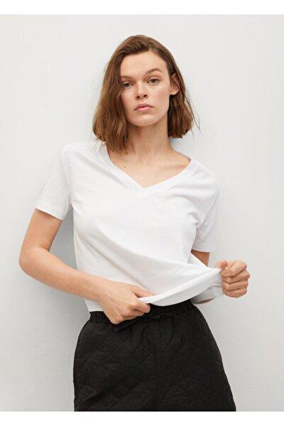 Kadın Beyaz V Yakalı Pamuklu Tişört