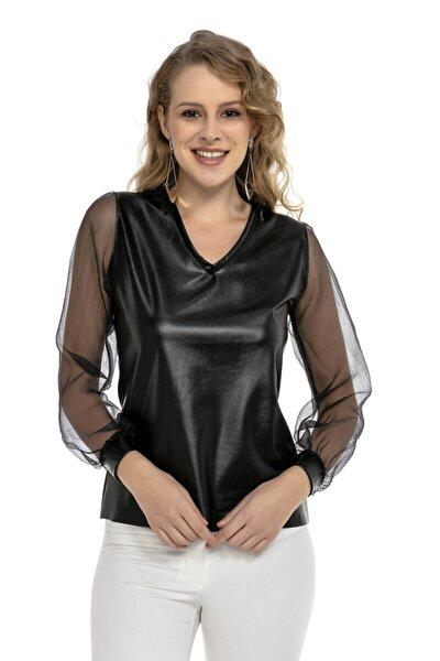 Siyah V Yaka Kol Tül Detaylı Deri Bluz