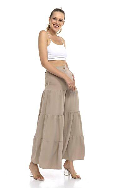 Kadın  Bej Geniş Paça Yüksel Bel Pantolon