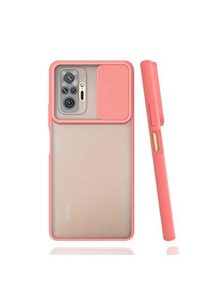 Redmi Note 10 Pro Uyumlu Kılıf Slayt Sürgülü Kamera Korumalı Arkası Buzlu Renkli Silikon