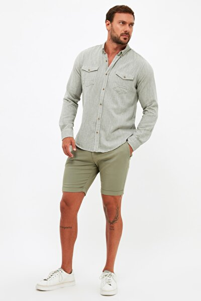 Haki Erkek Slim Fit Chino Kemer Bel Bağcıklı Duble Paça Şort & Bermuda TMNSS21SR0725