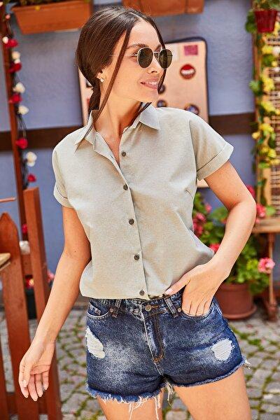 Kadın Yeşil Kısa Kol Gömlek ARM-21K001239