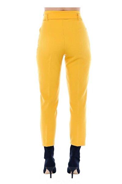 Yüksek Bel Tokalı Sarı Bilek Pantolon