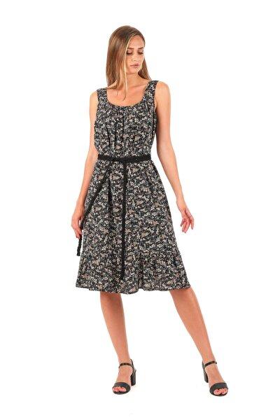 Kalın Askılı Çiçek Desen Elbise