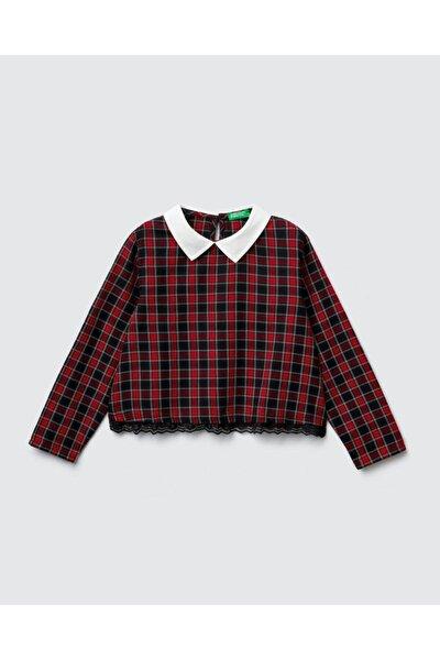 Kız Çocuk Kırmızı Ekose Bluz